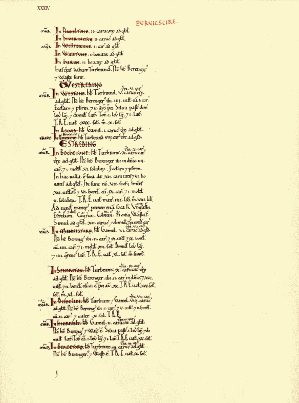 The Page in the Domesday Book dated 1086 describing Duggleby (Difgelibi) in Yorkshire