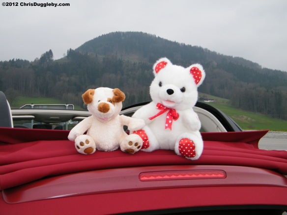 Riskko and Pink Lips enjoying the air in their new Italian Convertible