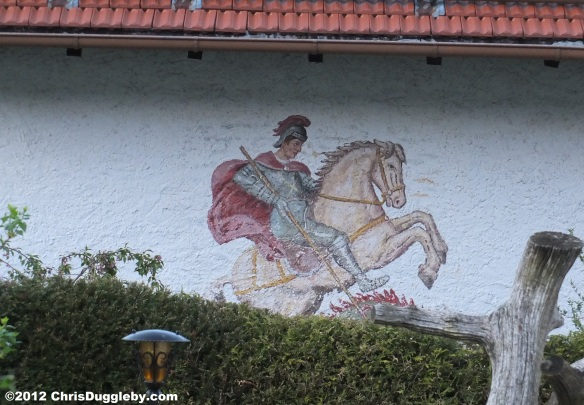 Painting of St George killing (hidden) dragon on a German Wall