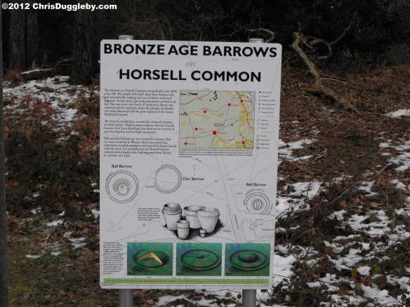 Sign for Bronze Age Barrows in Horsell Common