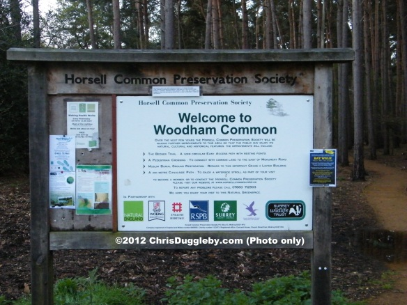 Horsell Common Preservation Society Welcome Sign Near Prehistoric Britain Site