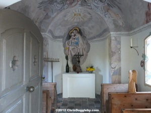 Marienkapelle AD 1830 at the Forest Edge above Bad Feilnbach: View through door
