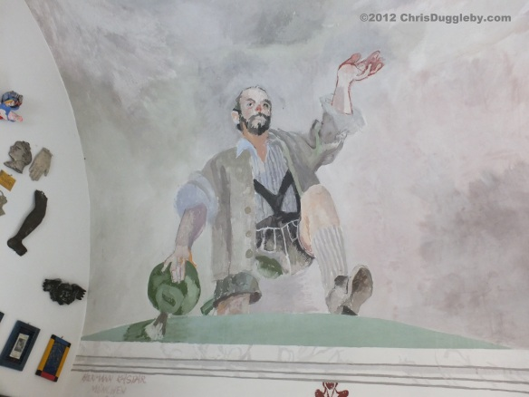 Marienkapelle ceiling fresco of man in Lederhosen