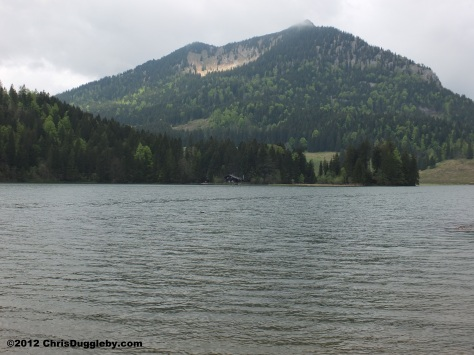 Spitzingsee Mountain and log cabin