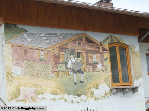 Alpine Wallpainting on Wurzhütte Restaurant Spitzingsee