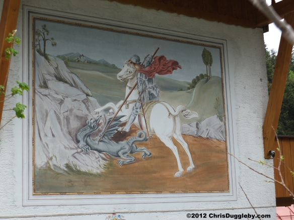 Wallpainting of St George and Dragon on Wurzhütte Restaurant Spitzingsee