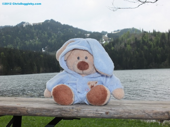 Robin Huddy on a bench at Spitzingsee
