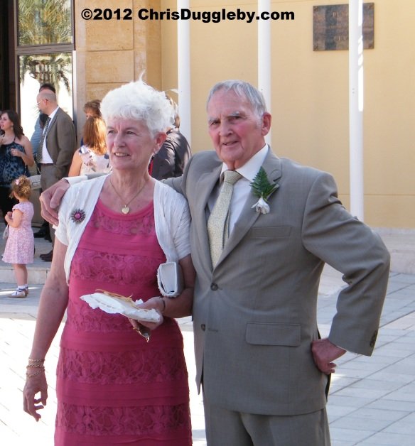My Father John Duggleby (75) at his daughter Helen's wedding (2012) with wife Christine