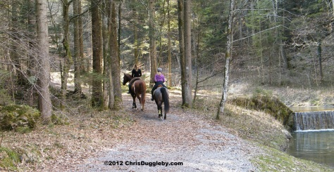 Local girls exercising their horses along the Osterbach from Bad Feilnbach to Thalhäusl