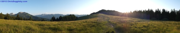 Panorama photo of Wendelstein, Breitenstein, Voralpenland and Schwarzenberg Gipfel (or summit)