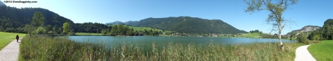 Panoramic View with lakeside path of Thiersee in the Austrian Tyrol