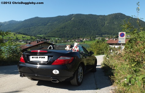 Pink Lips with guard dog RISKKO in her Merc SLK above the Thiersee near the Kufstein Mountain
