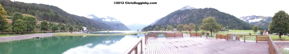 Achensee Lake with surrounding mountain lanscape: Tyrolean beauty even on a cloudy day
