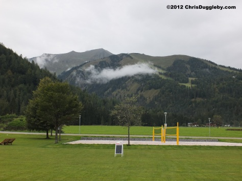 Moutains to the north of the Achensee Lake with a somewhat 'naked' looking beach volley-ball pitch in the foreground