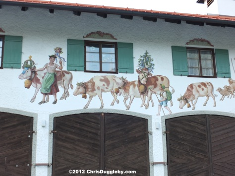 Wall fresco above the entrance to the Fire Brigade (Feuerwehr) in Bayrischzell off the Alpine Strasse