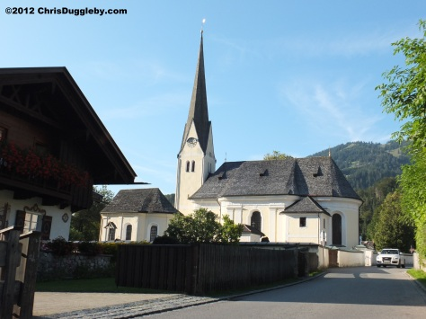 St Margareth's Church at Bayrischzell built in 1733 with tower and altar from 1075