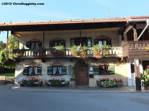 Peterhof Weinstube one of the many colourful cafes in Bayrischzell on the Deutsche Alpen Strasse