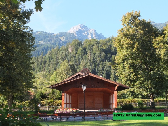 A fantastic mountain backdrop for the bandstand at Bayrischzell