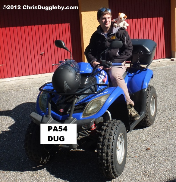 Pascal Duggleby gives RISKKO the shoulder on his Quadbike
