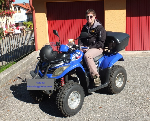 Pascal Duggleby lets RISKKO try the controls on the Quadbike
