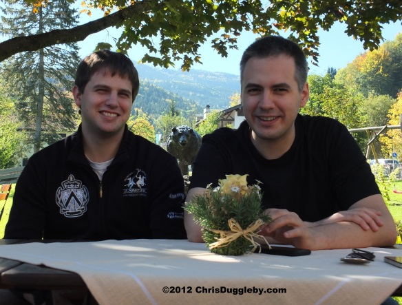 Alex and Pascal Duggleby in a Bad Feilnbach beer garden