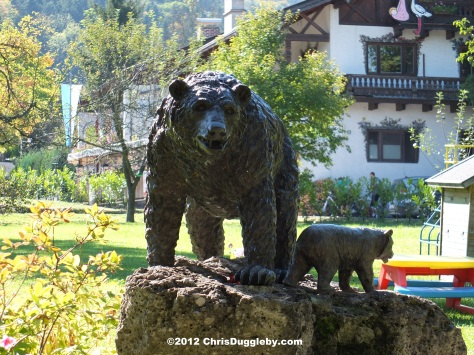 Bavarian Forest Bears in the garden of the Baerenstubn near the Schwarzenberg Mountain