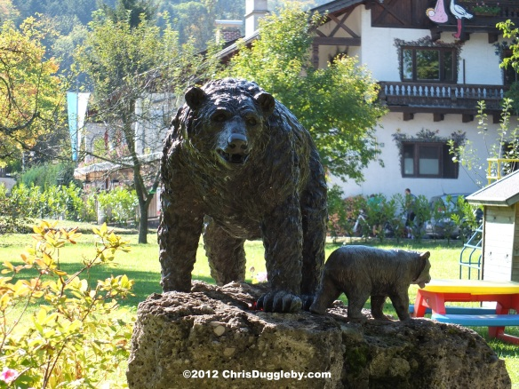 Bavarian Forest Bears in the garden of the Baerenstubn near the Schwarzenberg Mountain