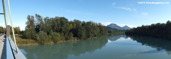 View of Austrian Alps from bridge near the Inntal autobahn over river Inn