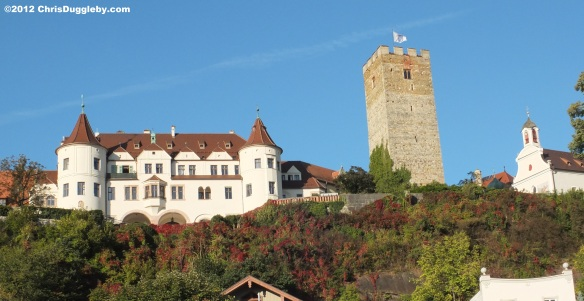 Schloss Neubeuern with its beautiful hanging gardens as seen from the market village square