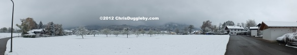 First Winter Snow Arrives in Bad Feilnbach - Panoramic View