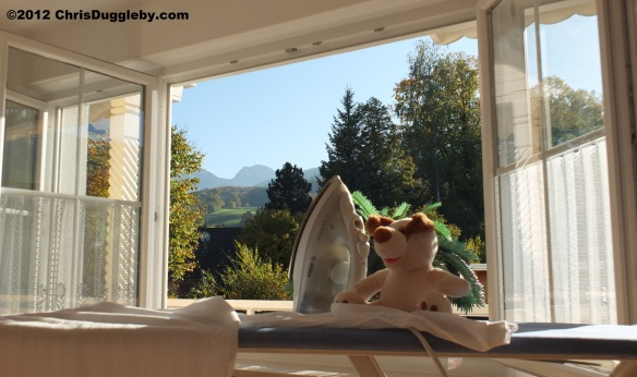 One week before the snow: RISKKO is helping with the housework and enjoying the autumn sun
