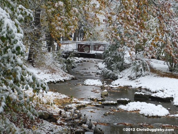 Bridge over the alpine bach in Bad Feilnbach, with autumn leaves and snow