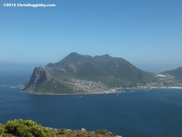 View of Karbonkelberg Mountain at Hout Bay as seen from Chapmans Peak