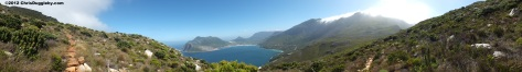Panoramic high definition view of Hout Bay from high up on the trail up Chapmans Peak