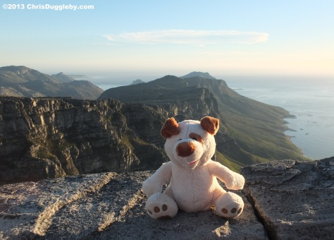 Once he gets to the top of Table Mountain RISKKO takes a rest and enjoys the view