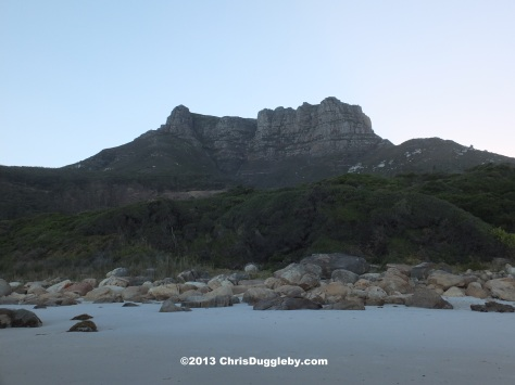View of 12 Apostles Mountain from Llanduno Beach before the sun rise: tranquility and beauty - undisturbed by people