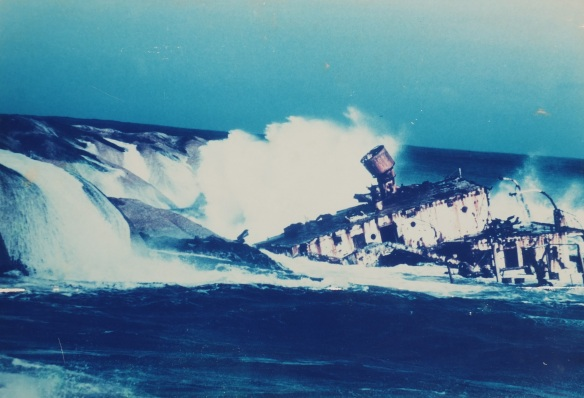 After running aground on July 28th, 1977 the wreck of MV Romelia broke up next to Sunset Rocks. It is no longer visible above the sea surface but a popular destination for diving trips (Picture courtesy of Ian McPherson)