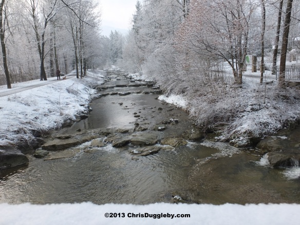 Beautiful Alpine river scene captured during the April snow as we trek back from the recycling centre