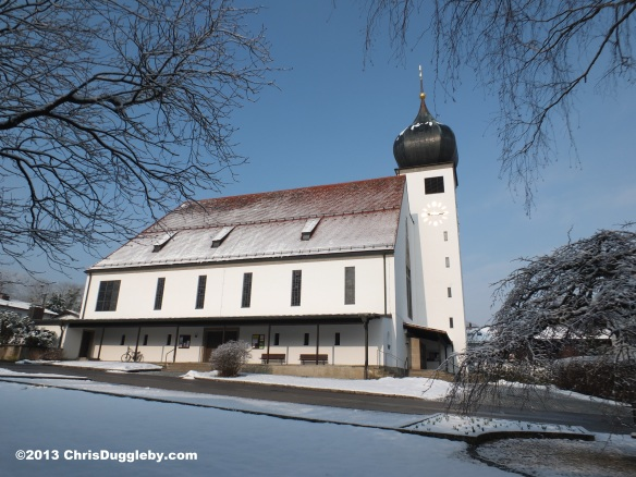 Side view of Bad Feilnbach's beautiful church, the Pfarrkirche Herz Jesu, on Easter Monday, 2013: April 1st