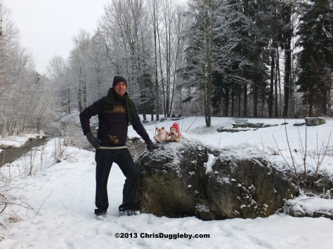 Author with RISKKO the 'Envirodog' and his pal the Alpine Bear after an exciting winter trip to the recycling centre in Bad Feilnbach, Bavaria