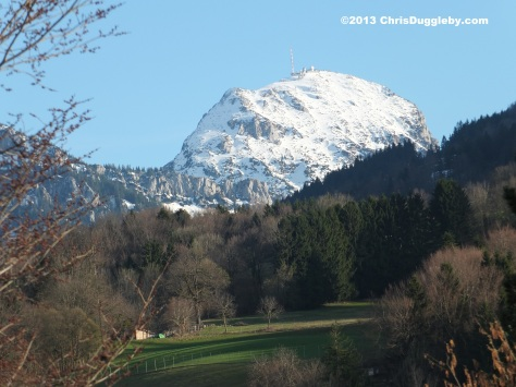 Spring arrives and the snow gradually departs from the Wendelstein (as seen from my balcony in Bad Feilnbach)