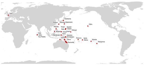 Invasive Alien Species Flatworm Platydemus manokwari sightings so far (March 2014) . Map by courtesy of Jean-Lou Justine and coworkers