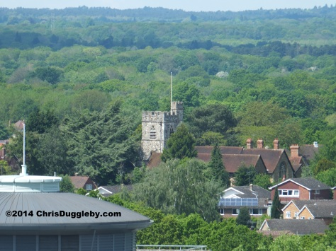 View of Horsell Church from the Centrium Building, Woking