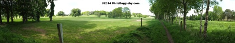 Panoramic View Of Bridleway Running By The Side Of Hoebridge Golf Centre
