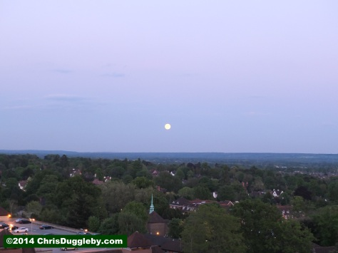 Full Moon Over Surrey Countryside Taken From Woking Town Centre
