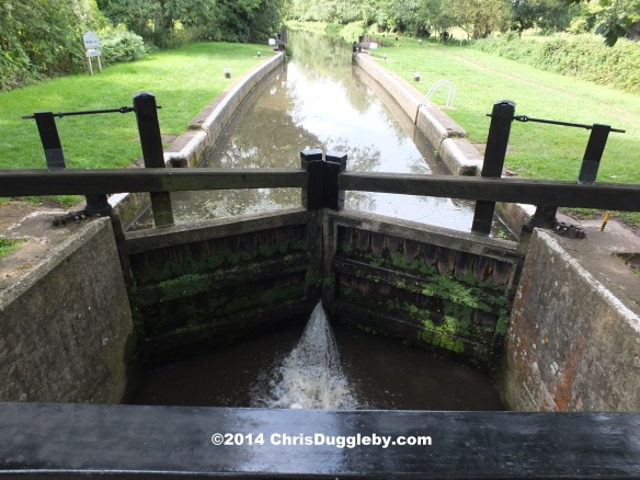 Newark Lock on the Wey Navigation near Newark Priory Ruins