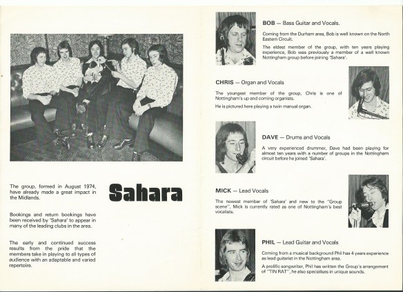 Publicity release from 1974 for the Nottingham Band Sahara - with 'up and coming' organist Chris Duggleby (age 16)