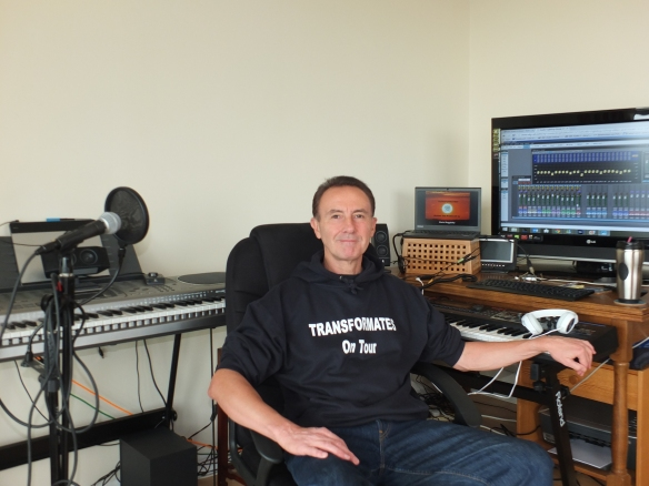 Chris Duggleby Producer of TRANSFORMATES in the V&LIUMM recording studios in Surrey, England.