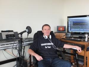 Chris Duggleby Producer of TRANSFORMATES in the V&LIUMM recording studios in Surrey, England.