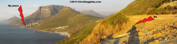 Panoramic view of Sunset Rocks taken from the Karbunkel Mountain near Hout Bay, Cape Town